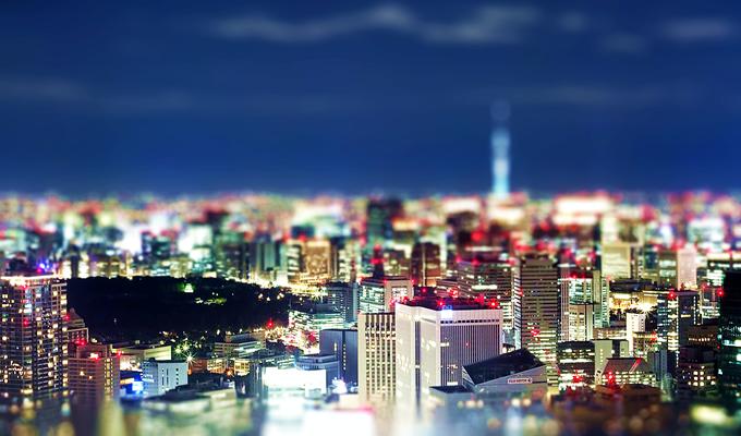 都心の夜景をミニチュア化