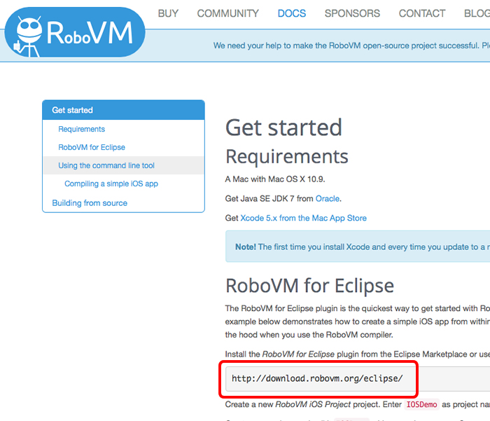 RoboVM本サイト内のURLをコピペ