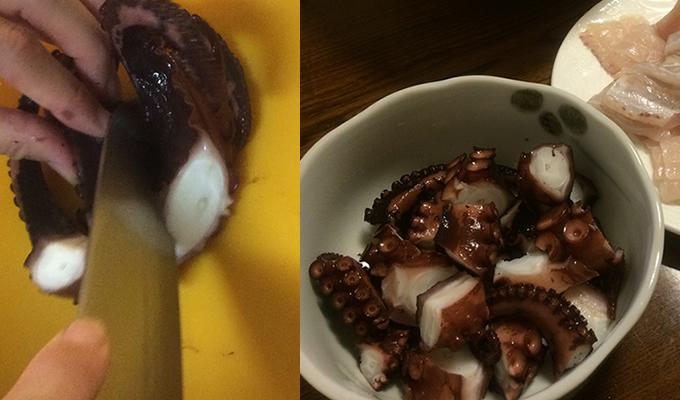 穫れたてのタコを塩で洗い、ゆでて食べると旨い