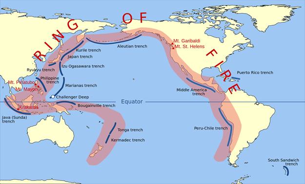Ring of Fireと呼ばれる環太平洋火山帯は日本や台湾が含まれる