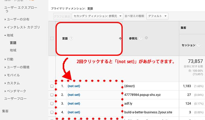 言語を2回クリックしてnotsetを上位行に表示させる
