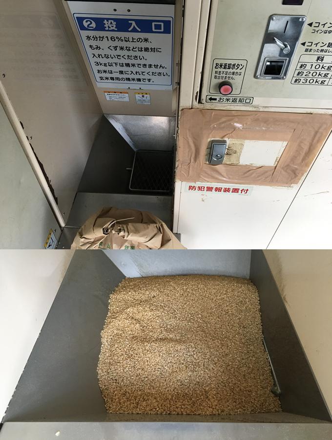 精米機の米投入口にお米をセットする