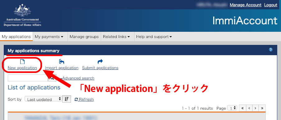 アカウントページで「New application」をクリック