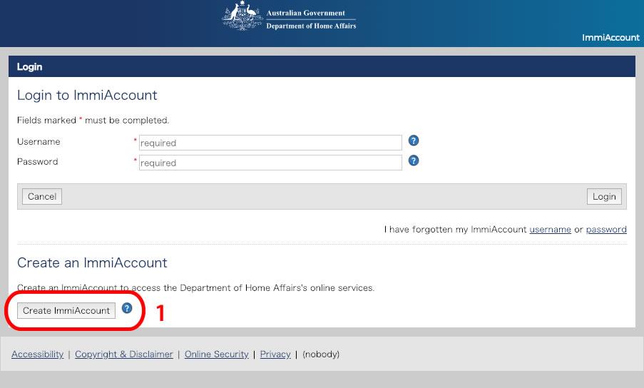 オーストラリア移民局のImmiAccountログイン画面にアクセスします